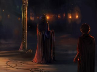 Quirrell and Harry in front of the Mirror of Erised.