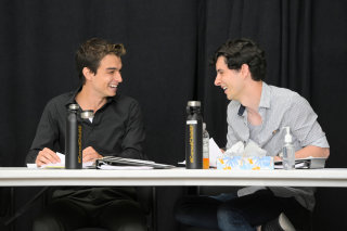 Benjamin Papac (Albus) and Jon Steiger (Scorpius) at the first table read for the San Francisco production of Cursed Child