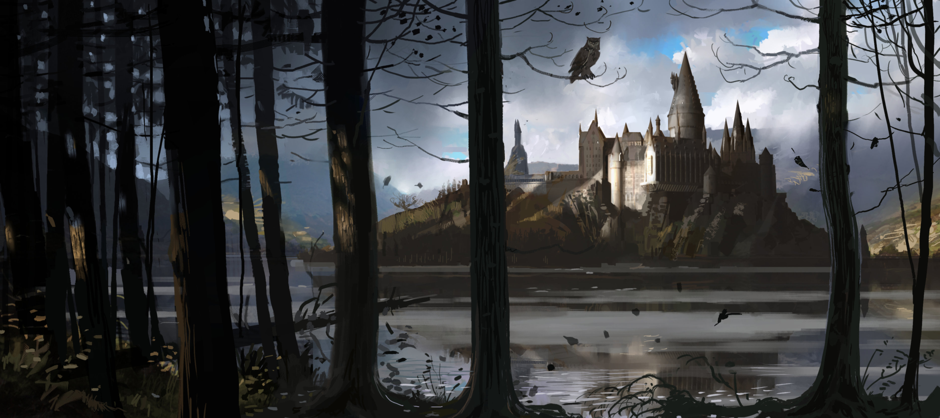 An illustration of Hogwarts through the trees