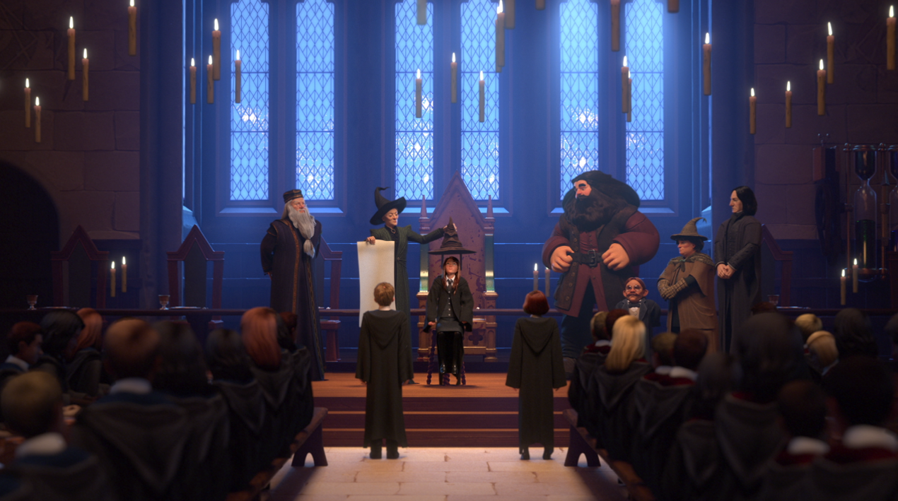 screenshot of the sorting ceremony from harry potter hogwarts mystery