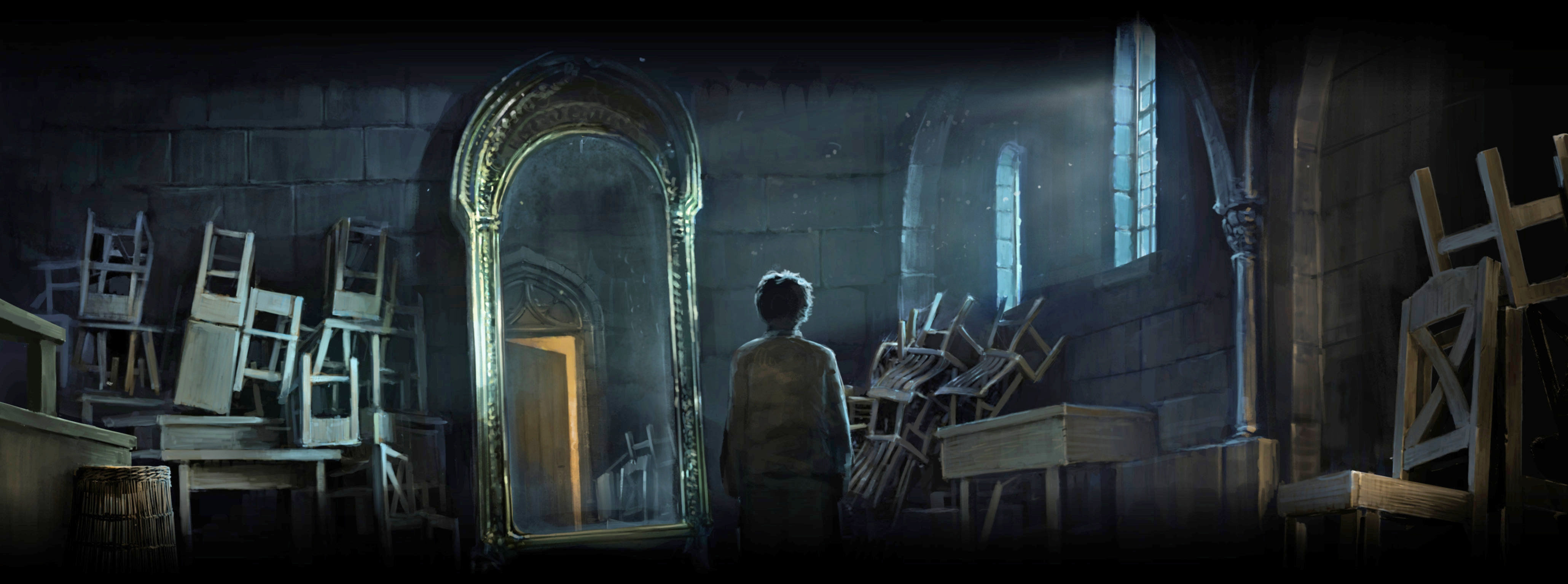 Harry in front of the Mirror of erised