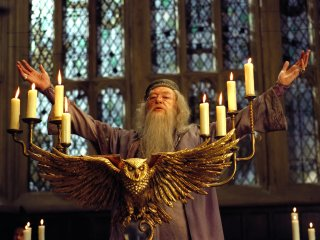 Dumbledore addressing students in the Great Hall from th