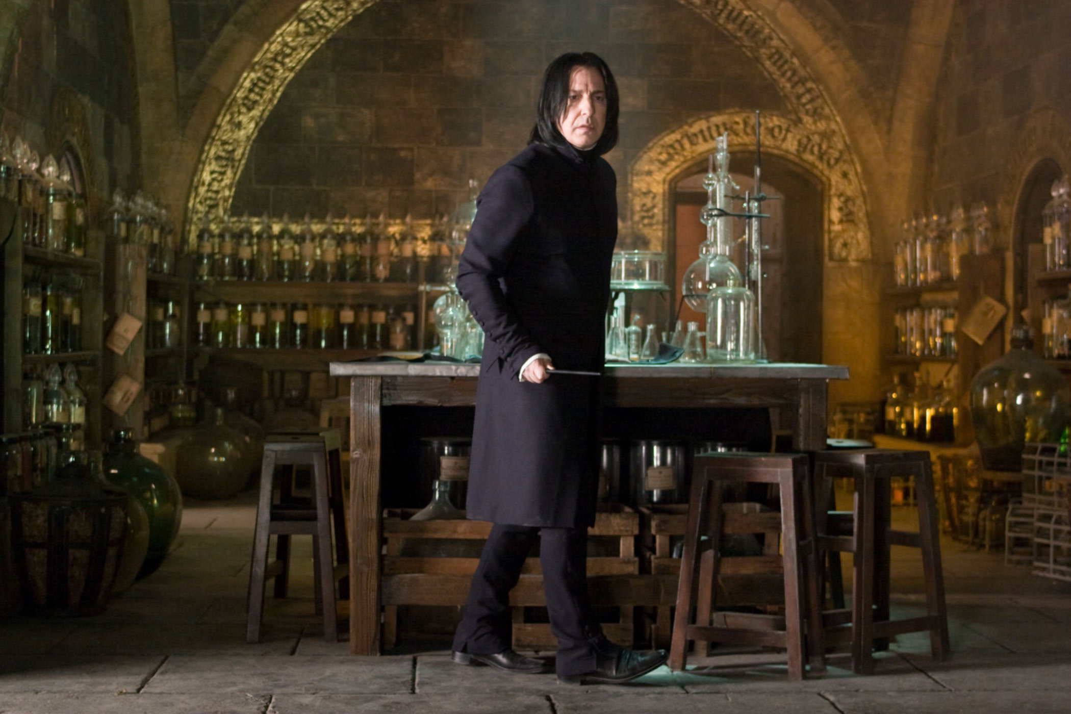 Snape in his potions class room from the Order of the Pheonix