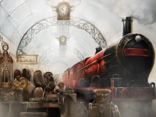 The Hogwarts Express at platform nine and three-quarters.