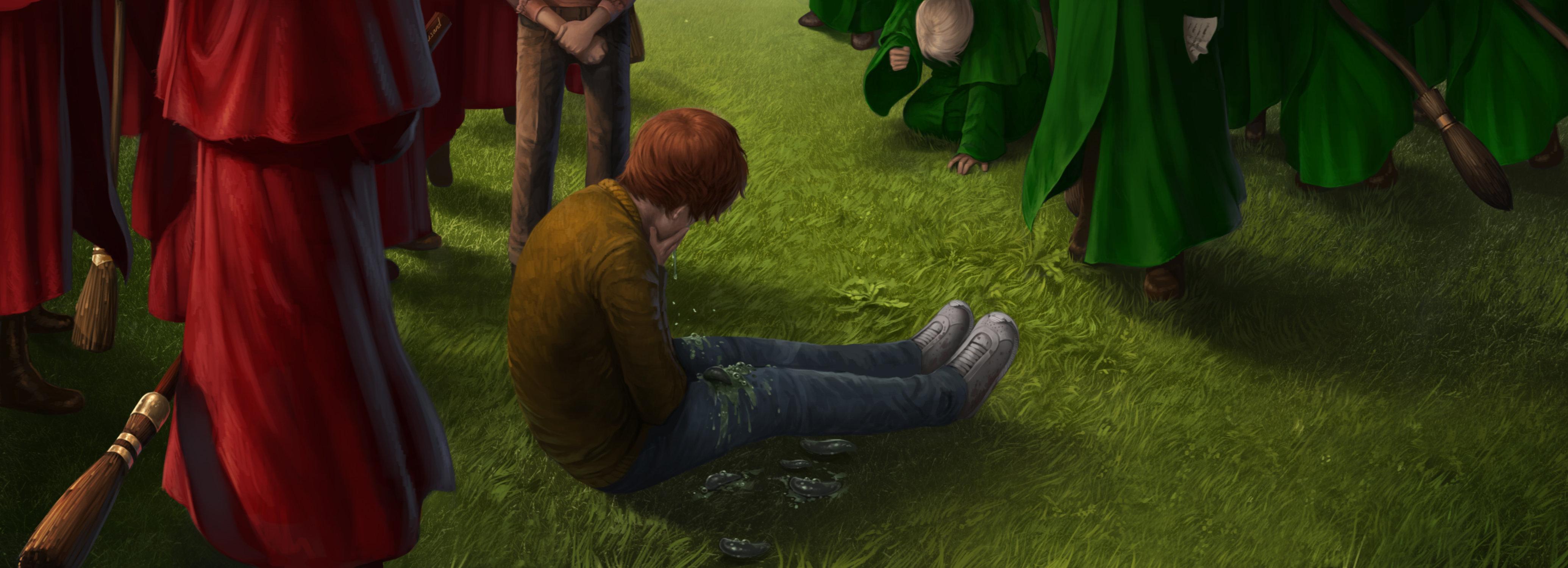 Ron vomits slugs at the Quidditch pitch.