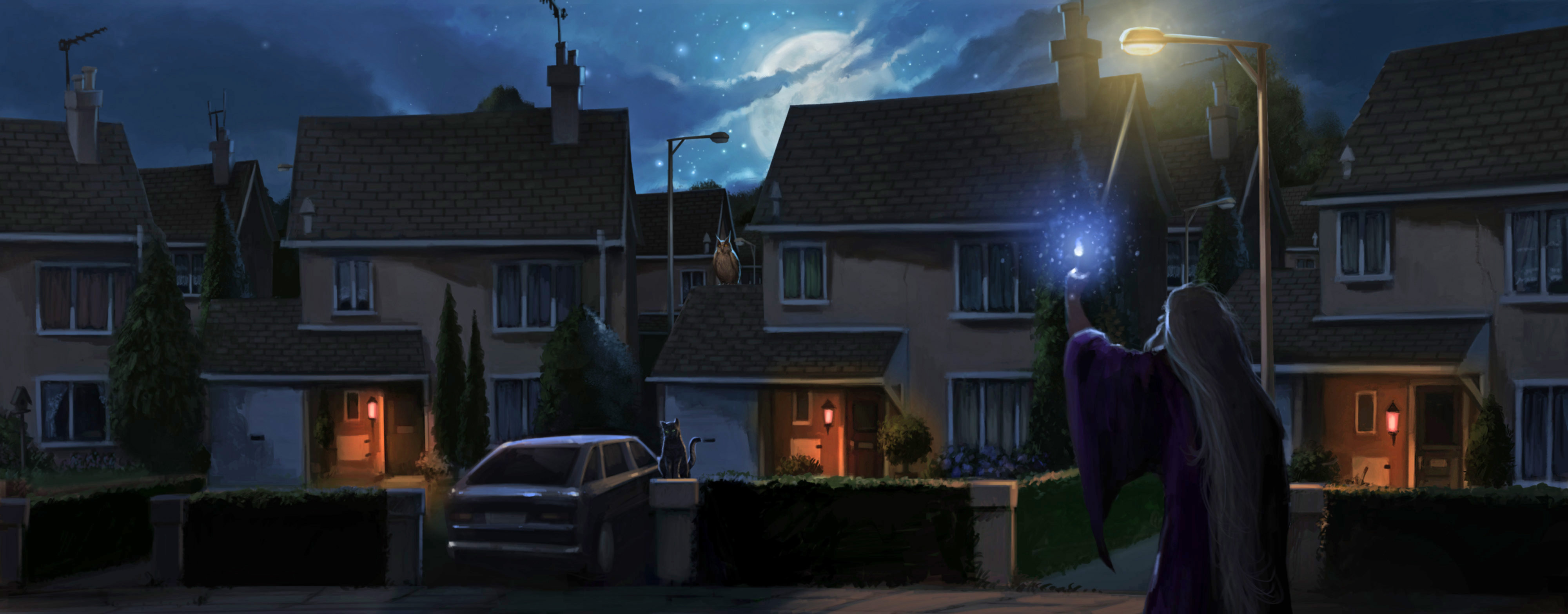 Dumbledore uses the Deluminator outside the Dursley's house.