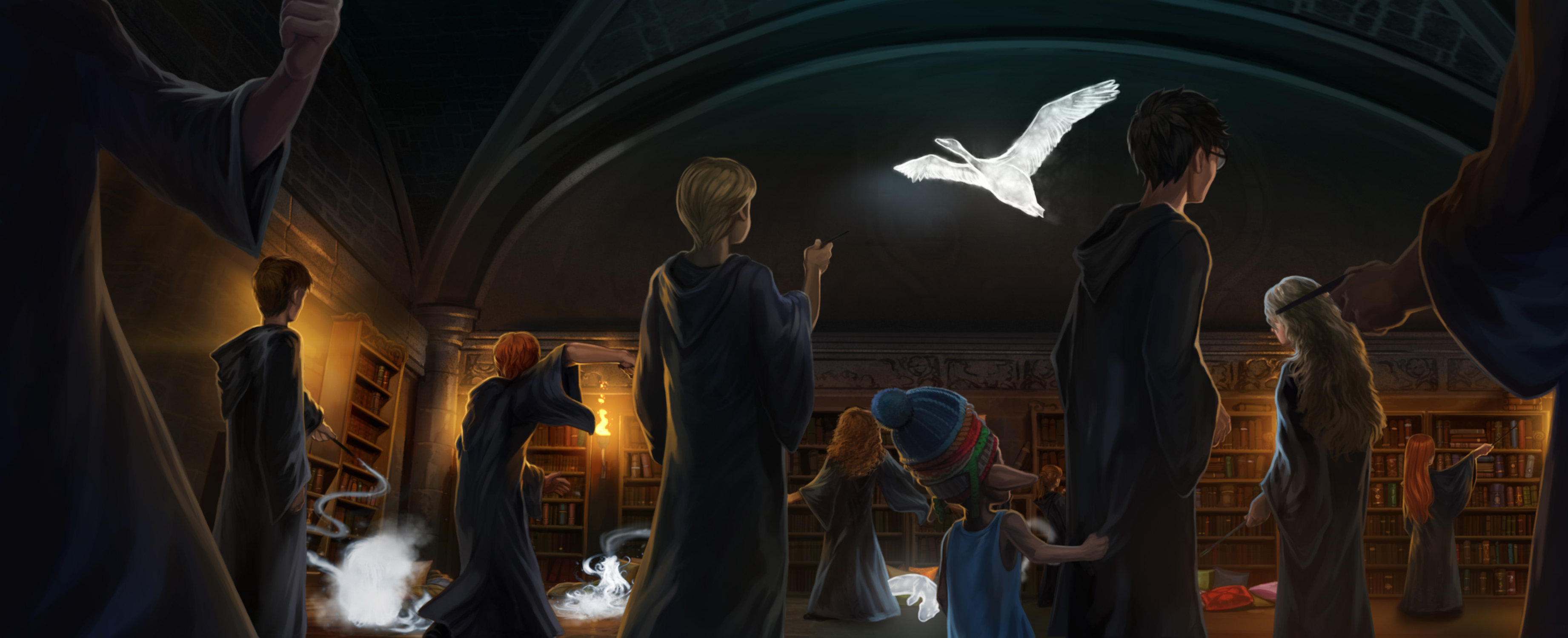 Harry teaches Dumbledore's Army how to do the Patronus spell.