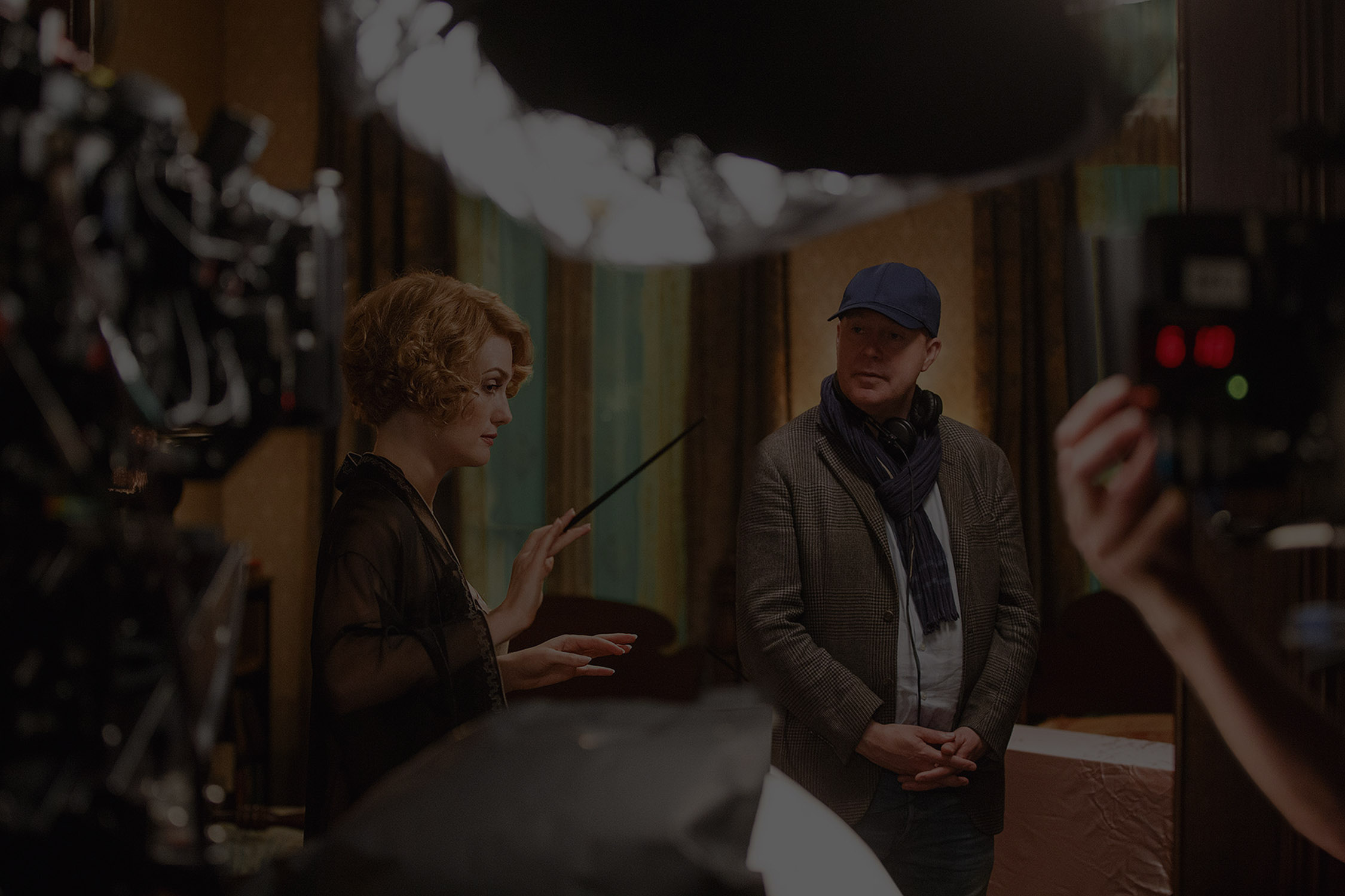 Alison Sudol and David Yates on set carousel
