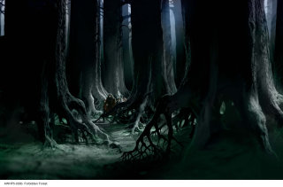 Hagrid Harry and Hermione deep in the Forbidden Forest