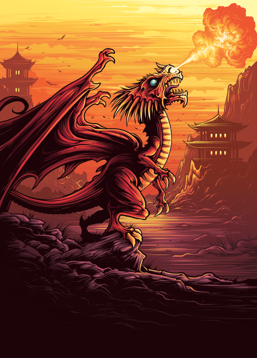 Illustration of a Chinese Fireball from the 'Dragons of the wizarding world' collection