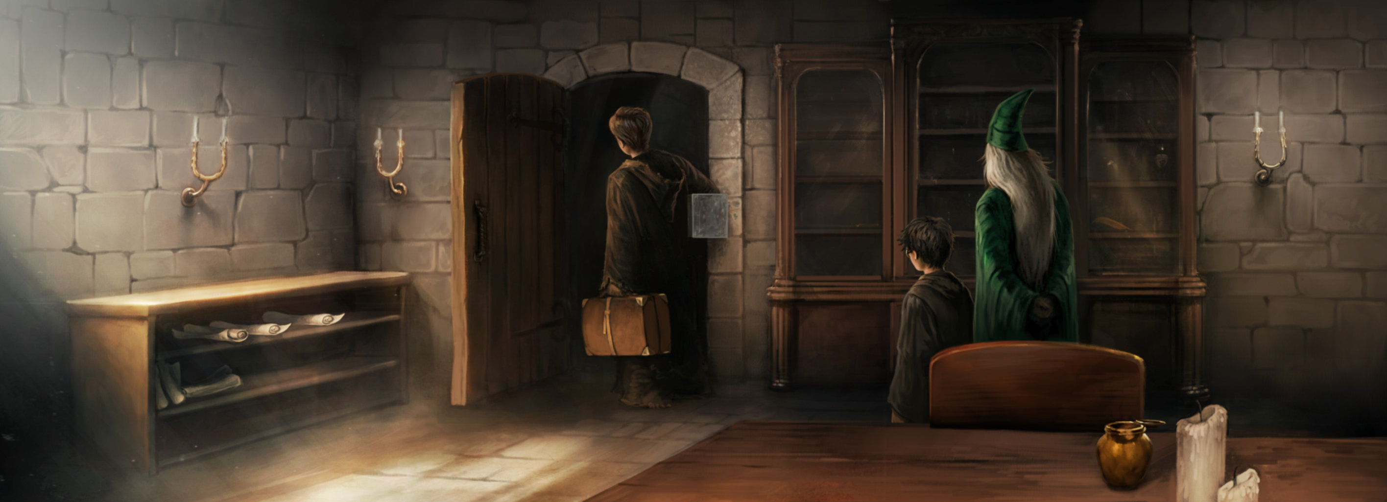 Lupin leaves his office while Harry and Dumbledore watch
