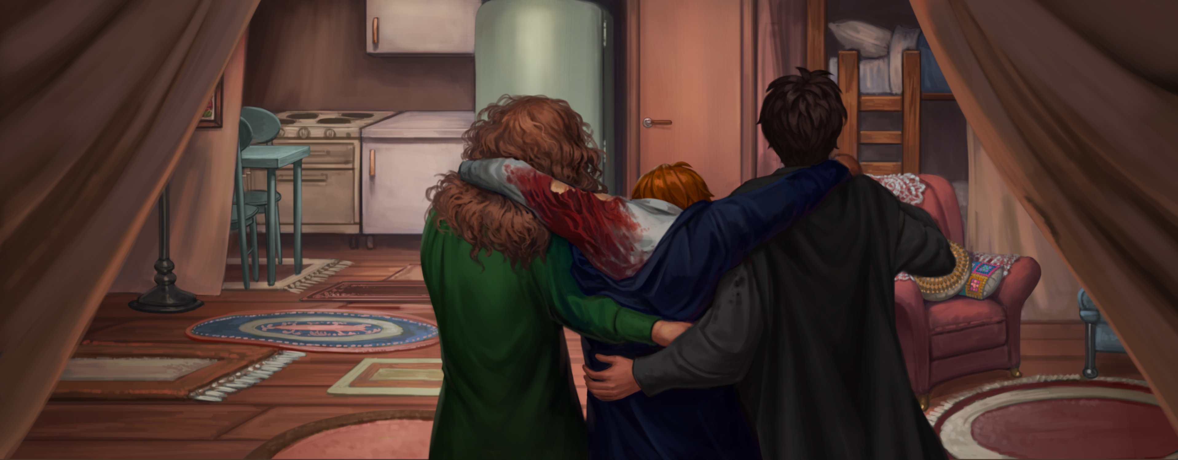 Harry and Hermione helping Ron after he has splinched himself.
