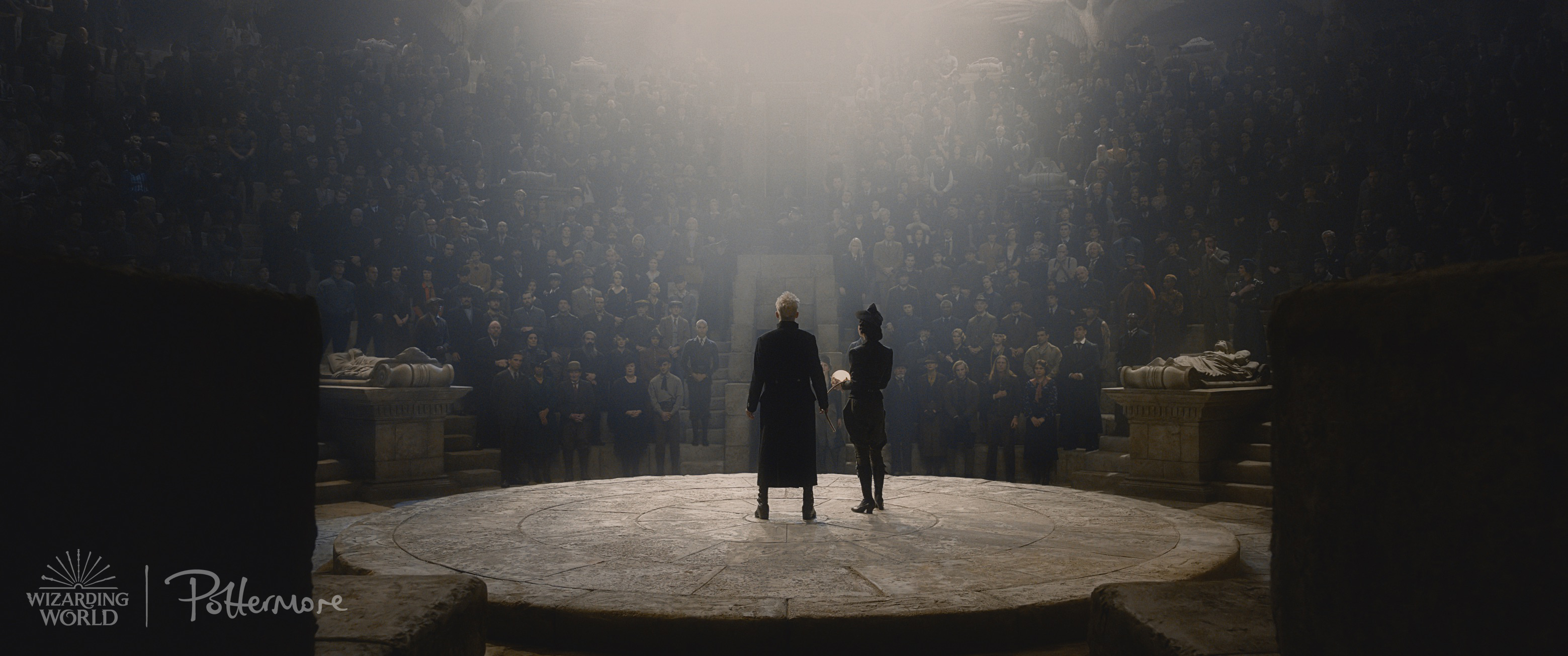 Gellert Grindelwald addressing a crowd in the Fantastic Beasts: Crimes of Grindelwald trailer