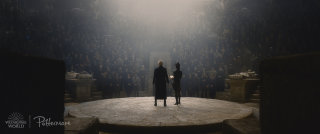 Gellert Grindelwald addressing a crowd in the Fantastic Beasts: Crimes of Grindelwald trailer