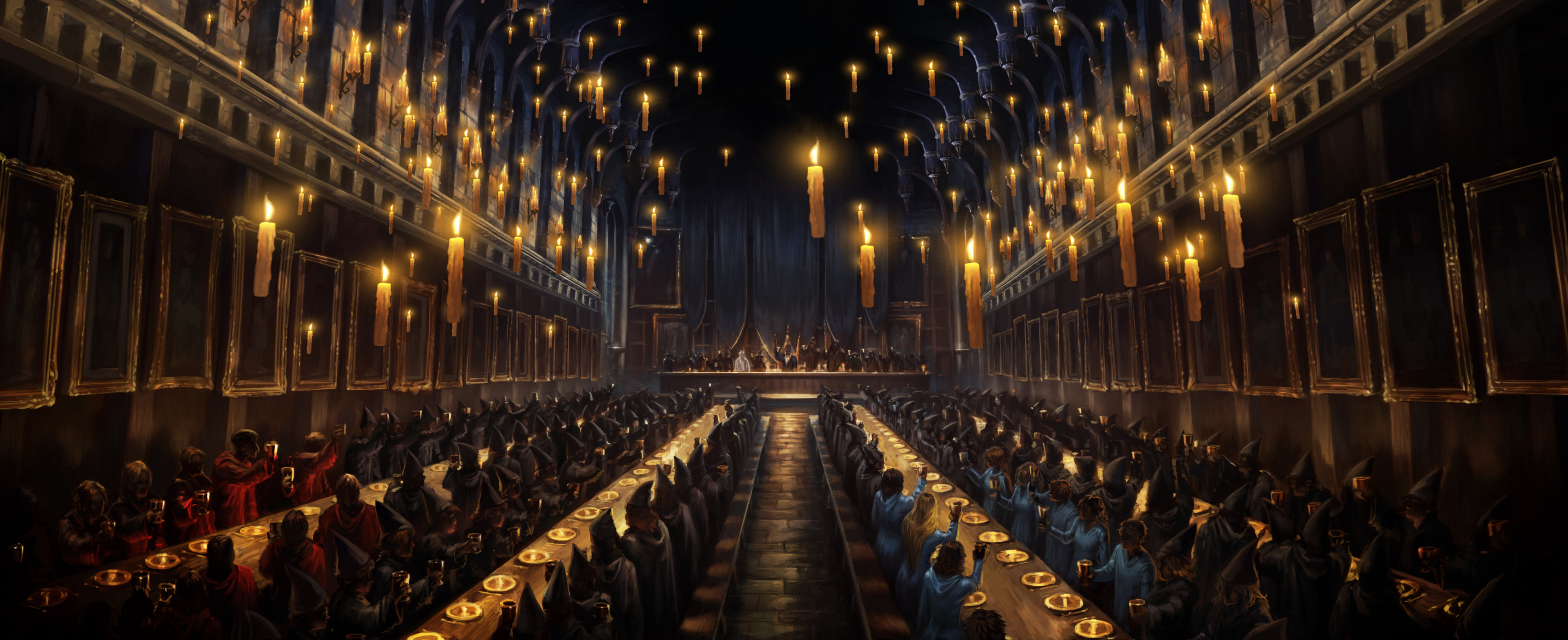 The students mourn Cedric Diggory's death in the Great Hall