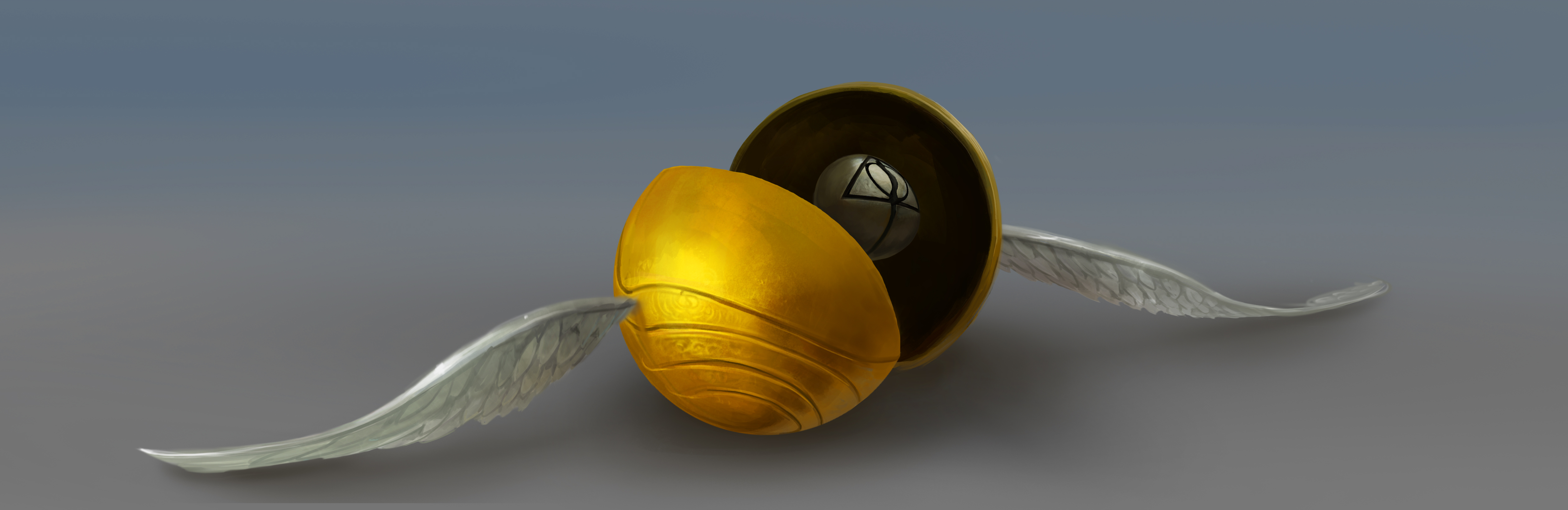 An open Golden Snitch, revealing the Resurrection Stone inside