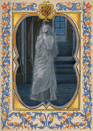 Still image of the Grey Lady from the Hogwarts Ghosts portraits
