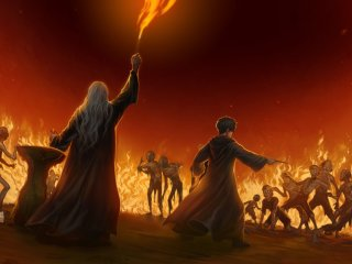 Dumbledore casts fire spell against the attacking Inferi in Horcrux Cave.