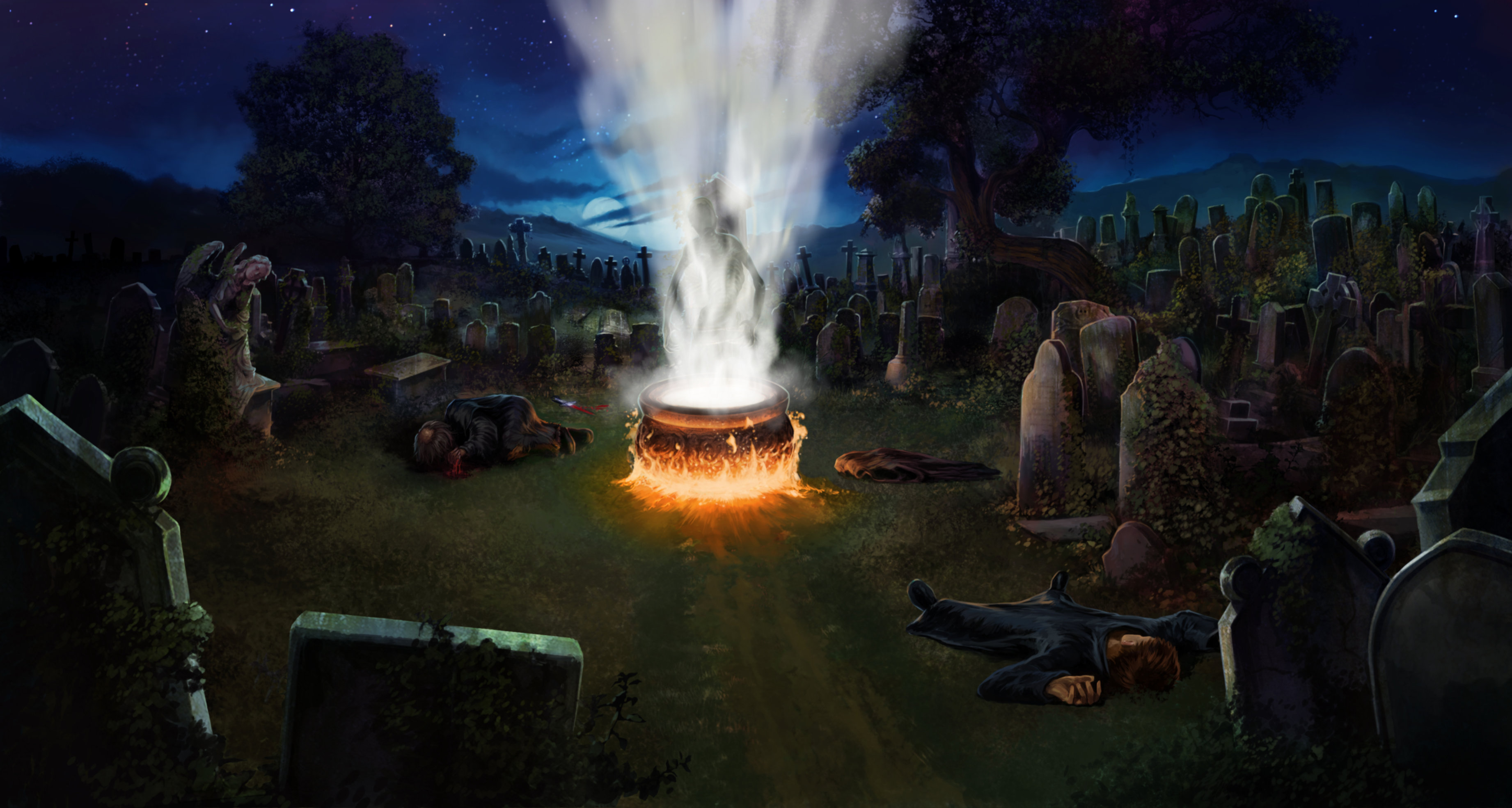 Peter Pettigrew lies grasping his bloody stump of a wrist while the cauldron from which Voldemort will be reborn glows in the middle of the cemetery.