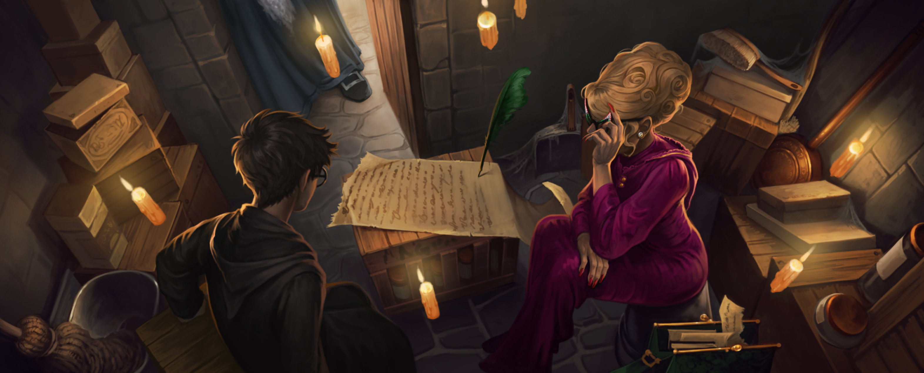 Rita Skeeter interviews Harry in the broom cupboard, her Quick Quote Quill takes down all the notes.