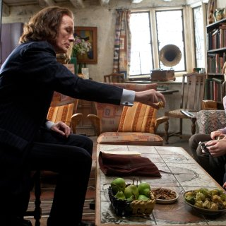 Scrimgeour dicusses Albus Dumbledore's will with Harry, Ron and Hermione at  The Burrow
