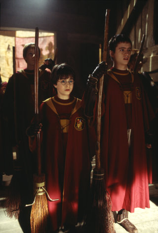 Oliver Wood and Harry Potter before Harry's first Quidditch match