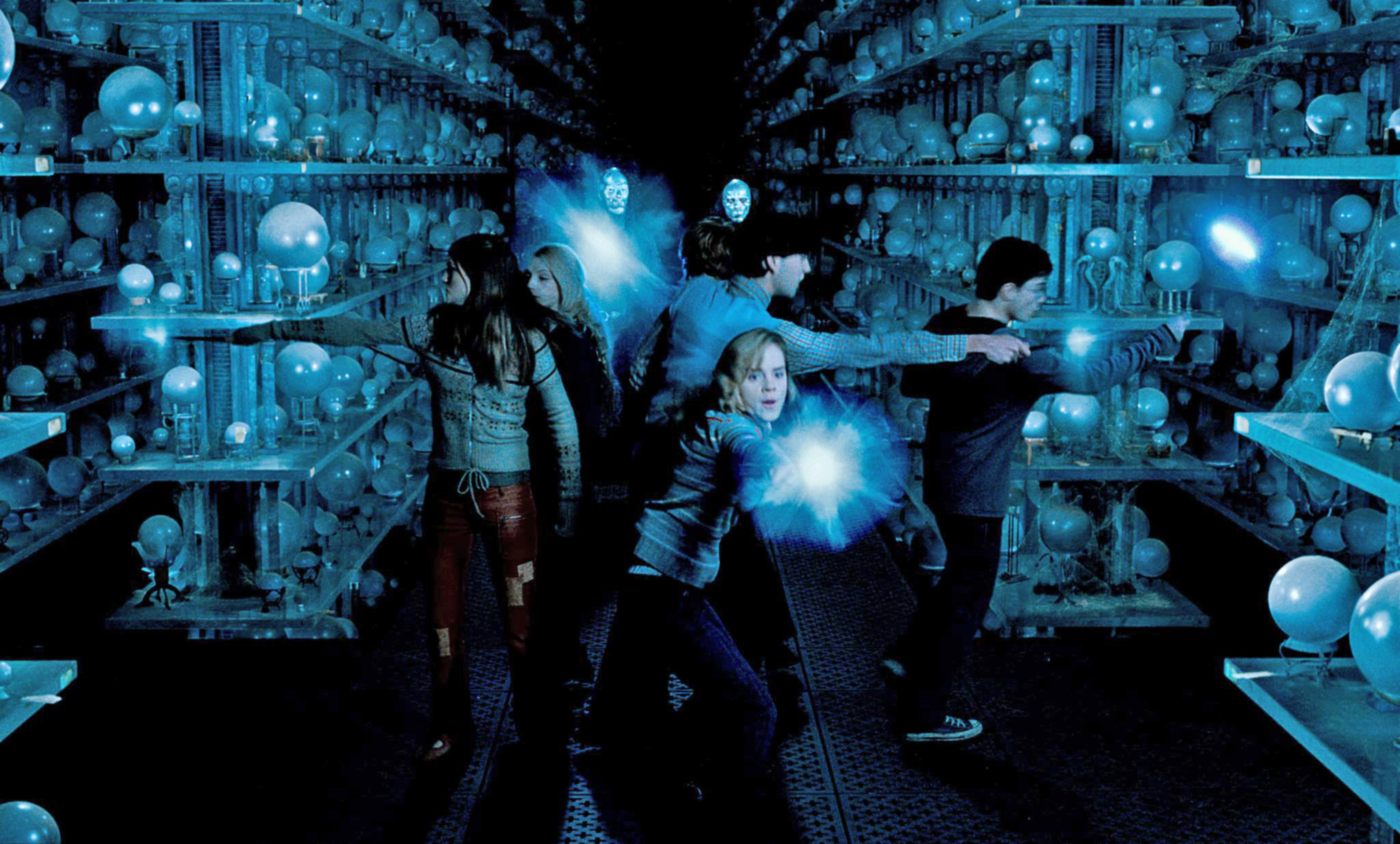 Dumbledore's Army battling the Death Eaters in the Room of Prophecy