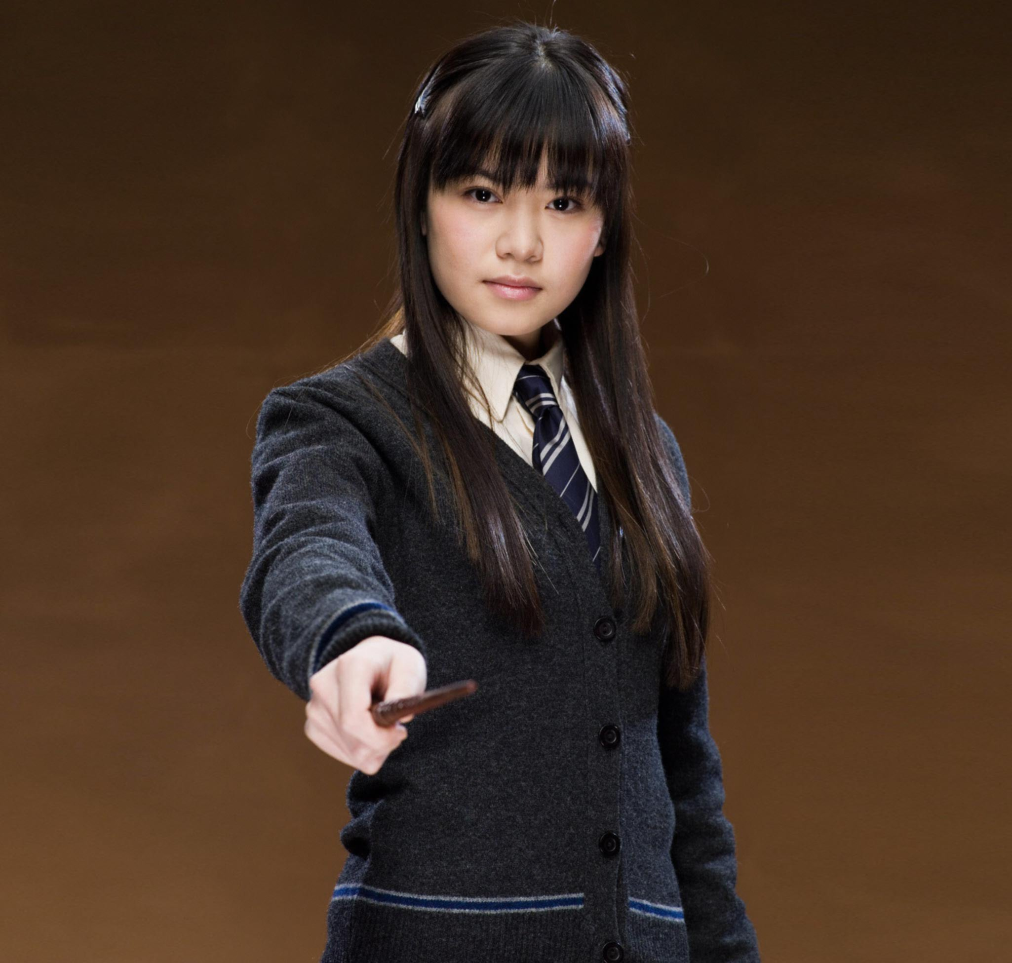 Cho Chang holding out her wand from the Order of the Phoenix