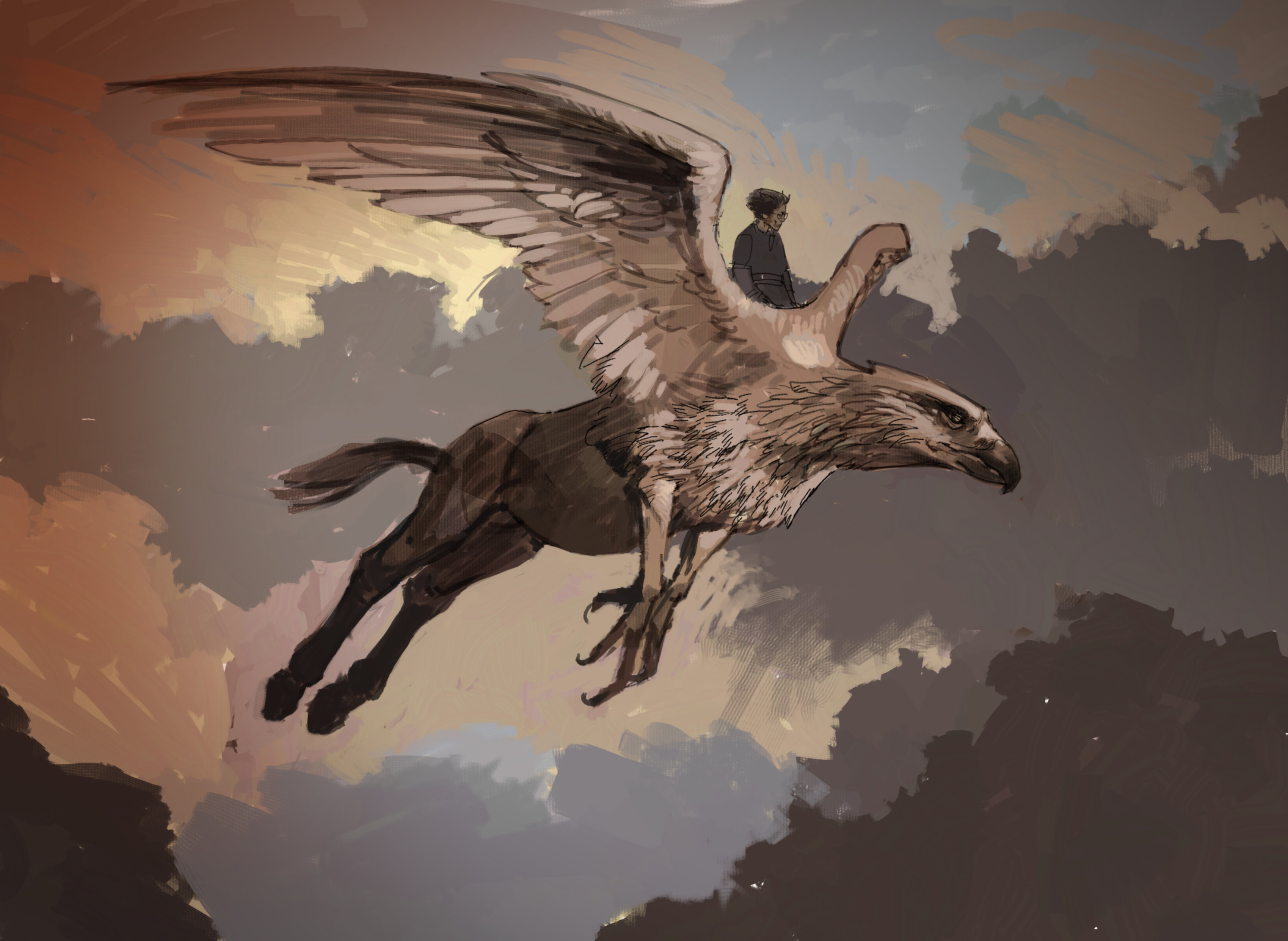 Concept art for Harry flying on Buckbeak