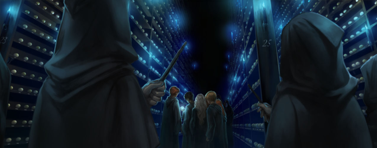The Death Eaters attack Dumbledore's Army in the Hall of Prophecy.