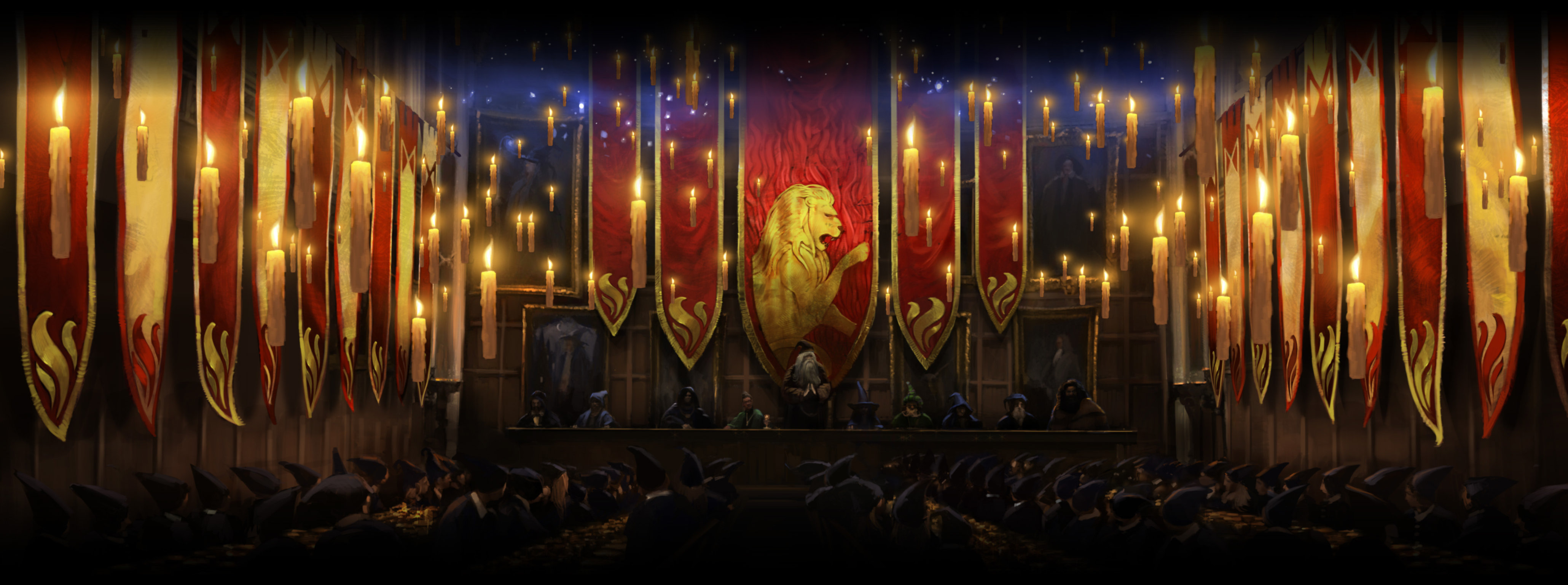 The Great Hall when Gryffindor win the House Cup