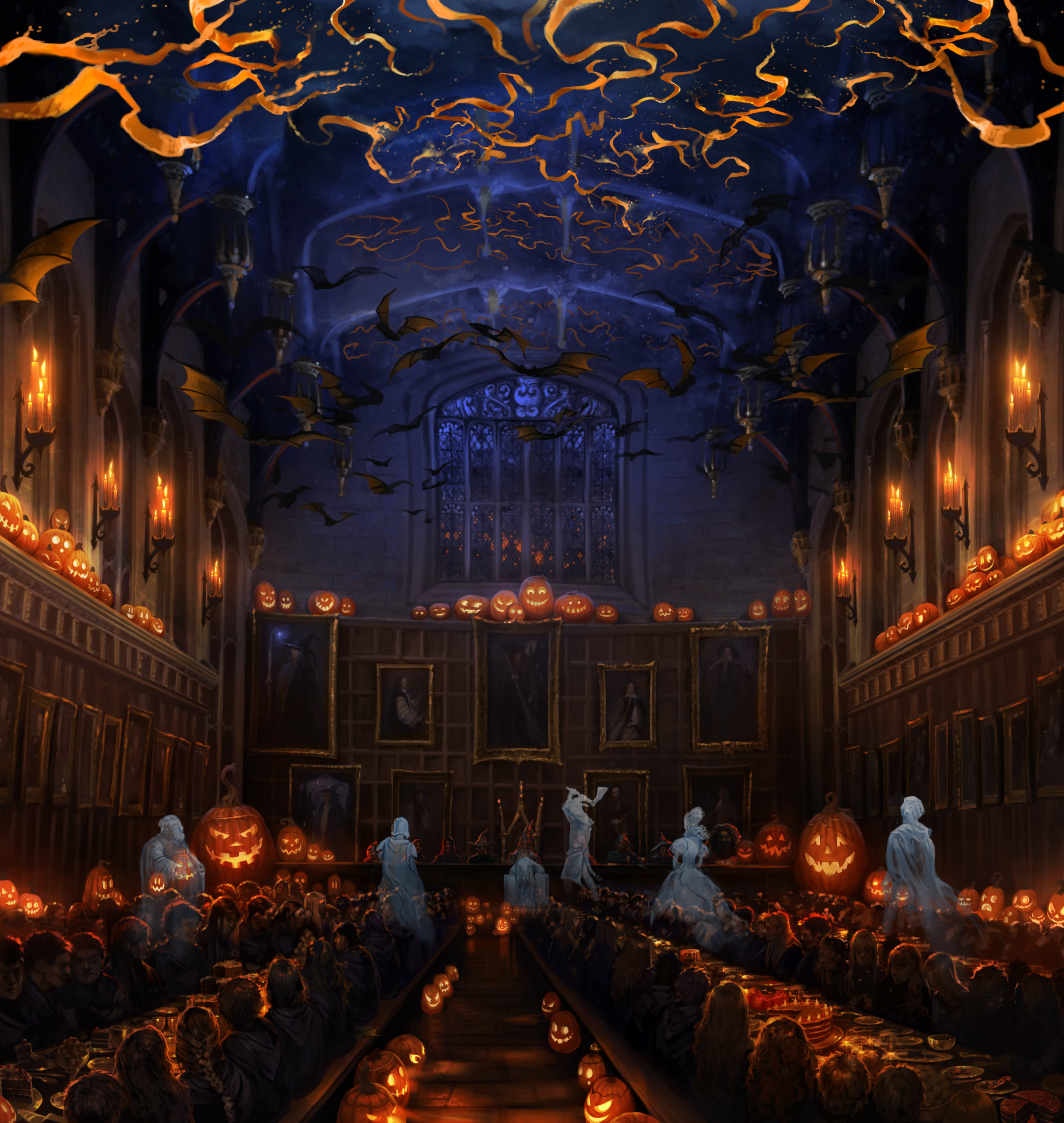 the great hall at halloween with the ghosts - Hogwarts Halloween