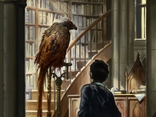 An old Fawkes in Dumbledore's office