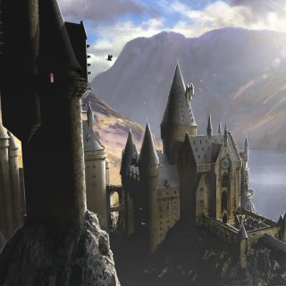 An illustration of a sunlit Hogwarts