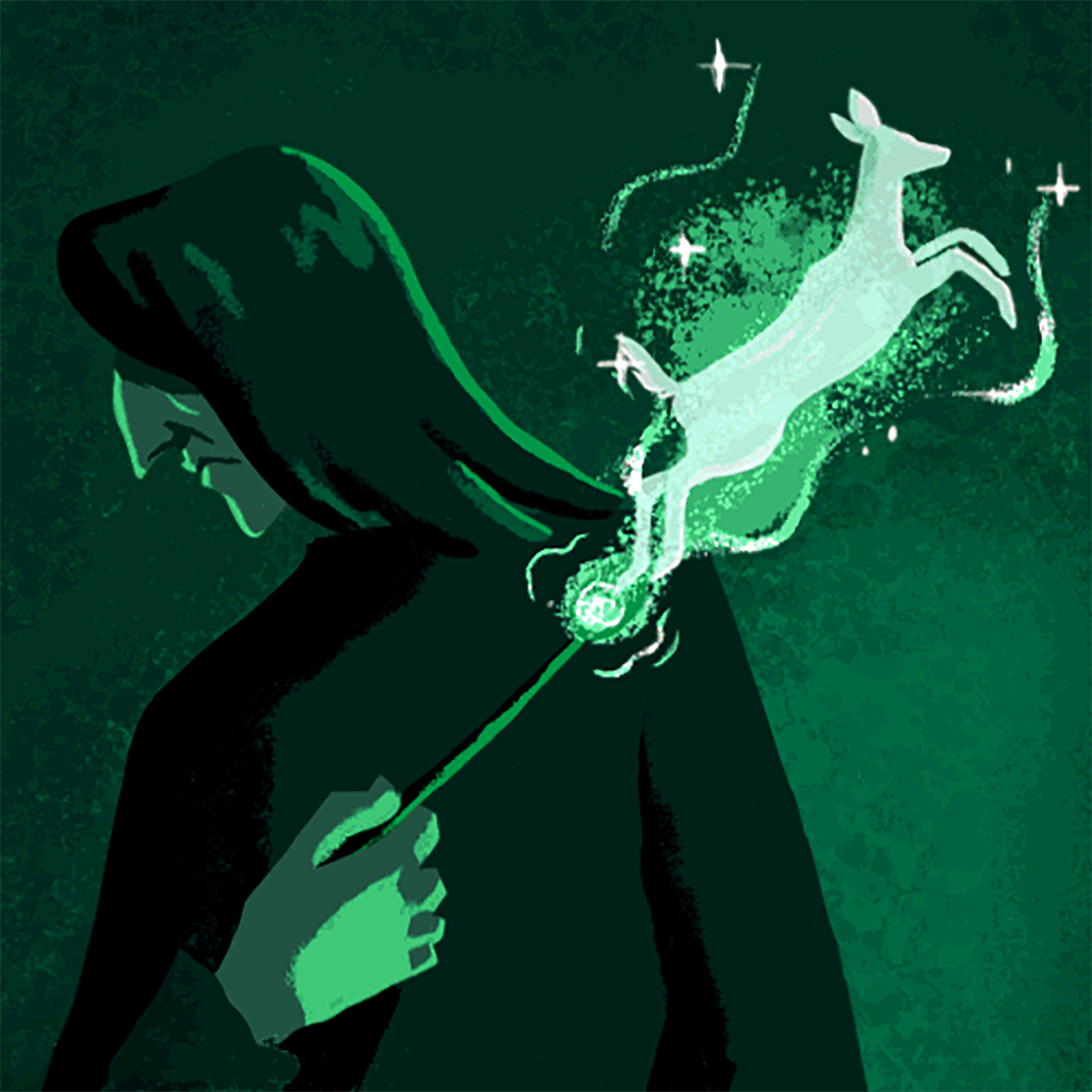 Illustration of Severus Snape casting his doe Patronus from Read the Magic