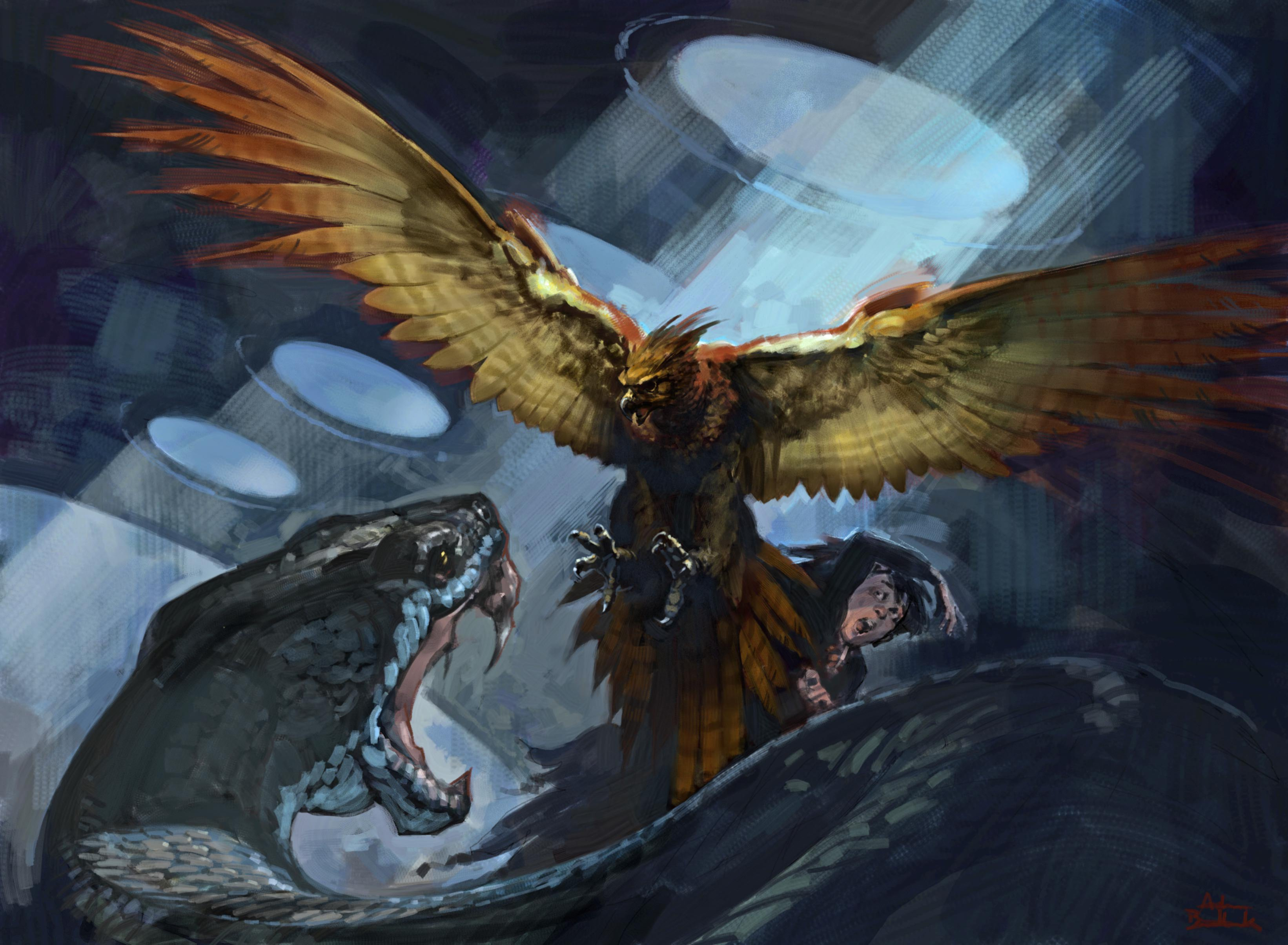 An illustration of Fawkes attacking the Basilisk.