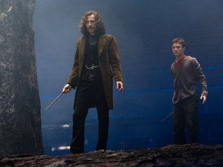Harry and Sirius standing in the Department of Mysteries