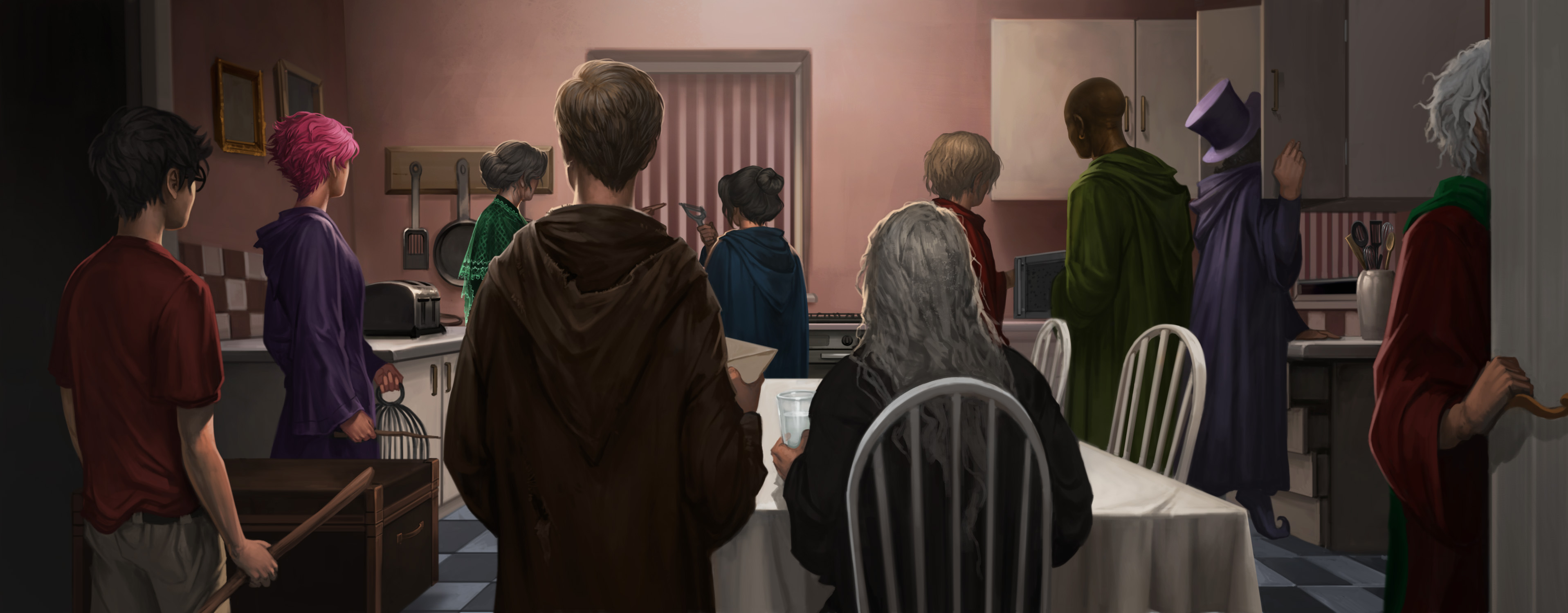Illustration of the Advance Guard at Privet Drive with Harry Tonks Hestia Lupin Emmeline Moody Sturgis Kingsley Elphias