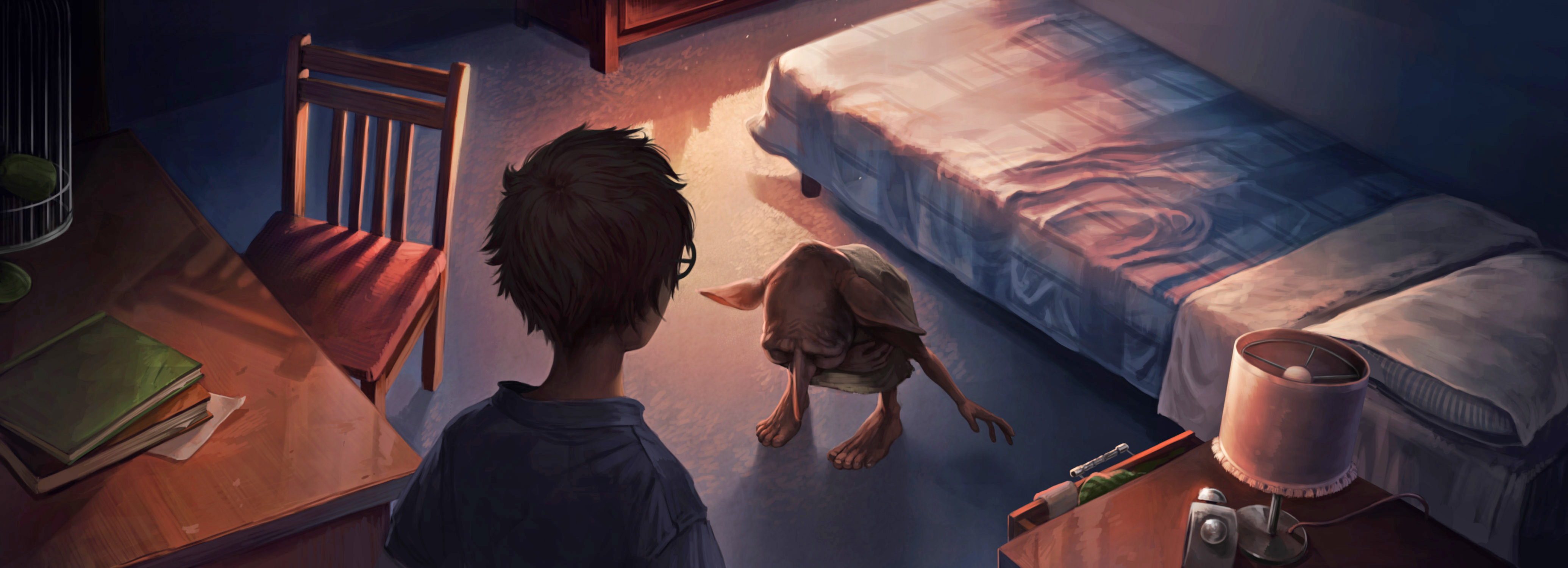 Dobby bows to Harry in his bedroom in Privet Drive