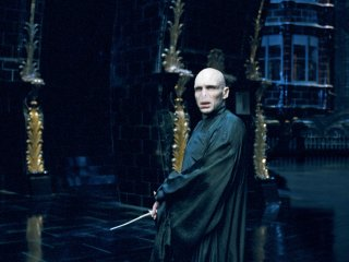 Voldemort holding his wand in the Ministry of Magic from the Order of the Phoneix