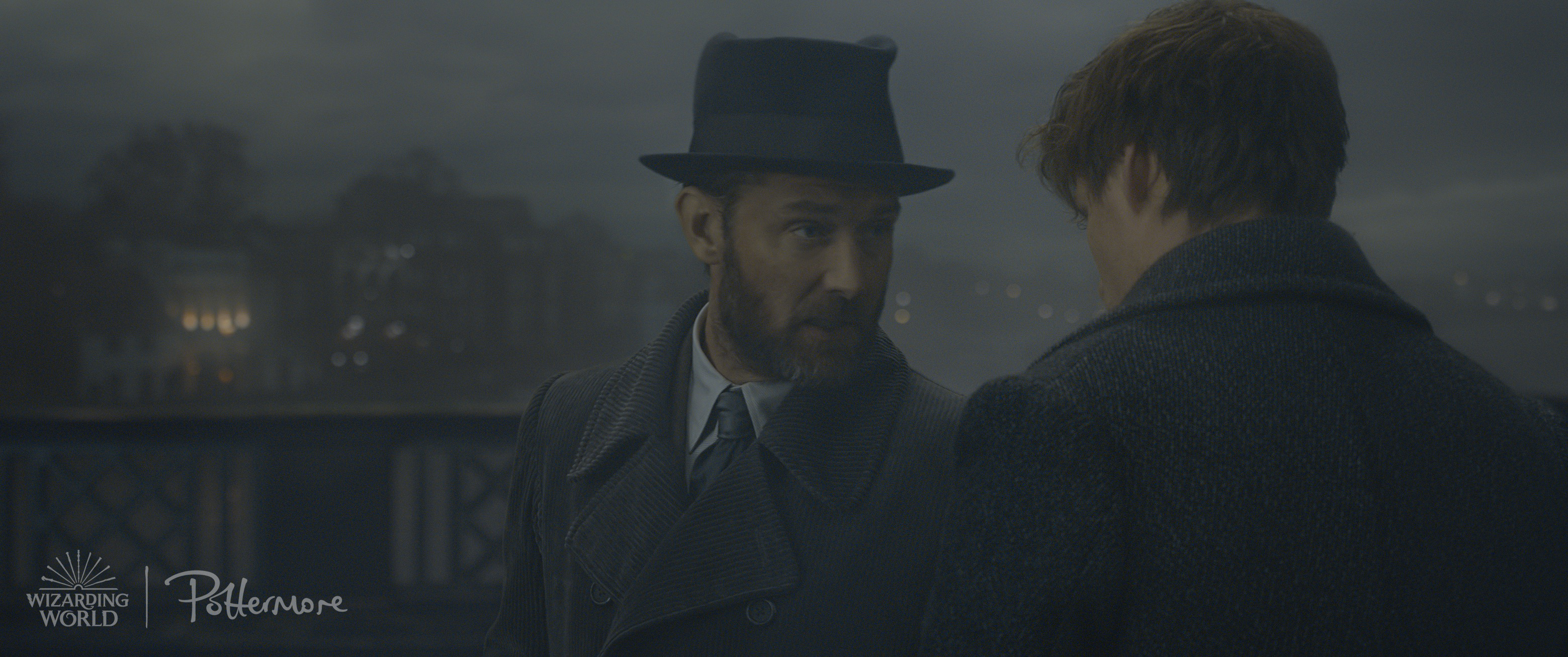 Albus Dumbledore and Newt Scamander in London, from the Fantastic Beasts: Crimes of Grindelwald trailer