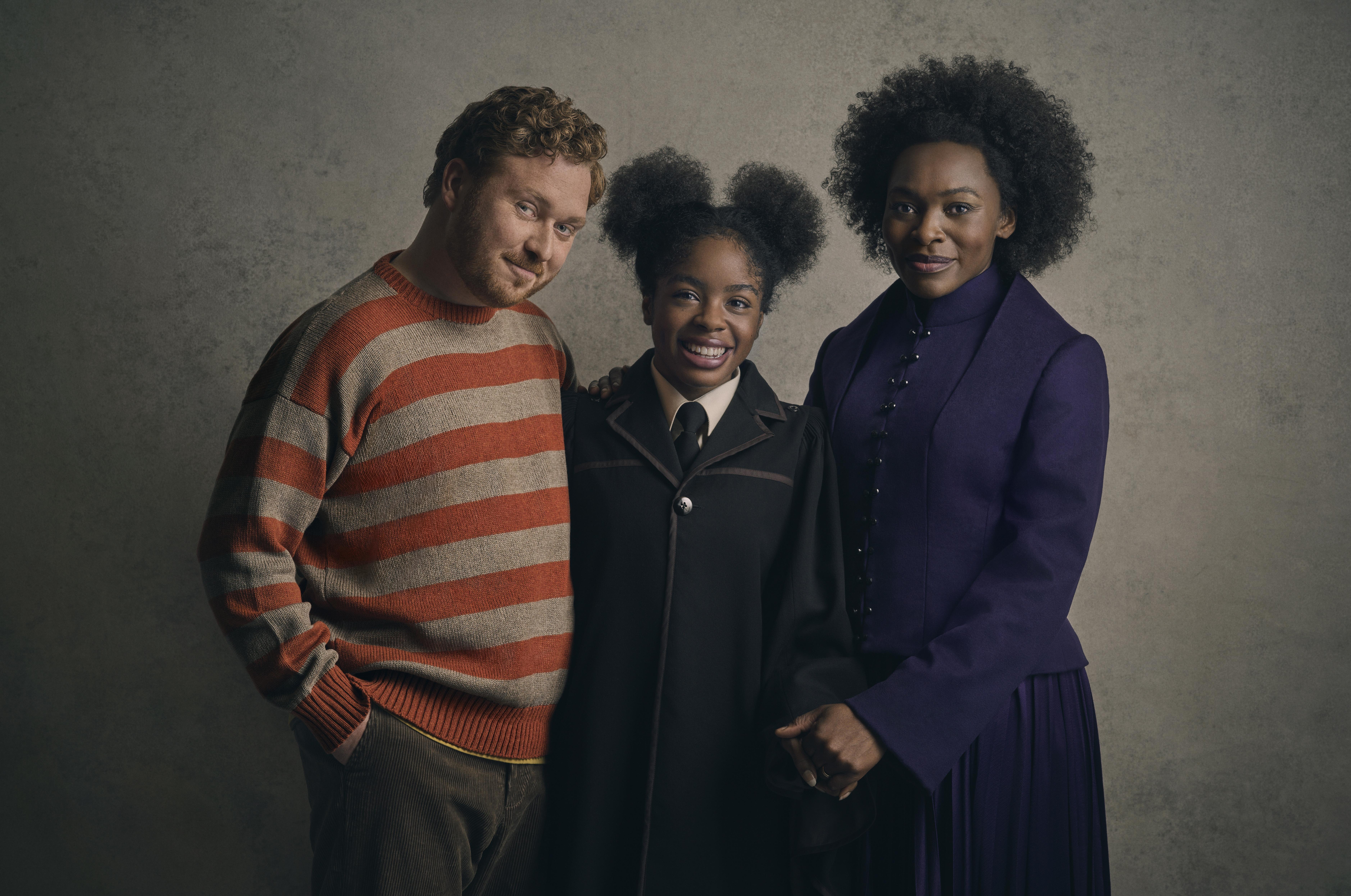 Thomas Aldridge as Ron Weasley, Rakie Ayola as Hermione Granger and Helen Aluko as Rose Granger-Weasley