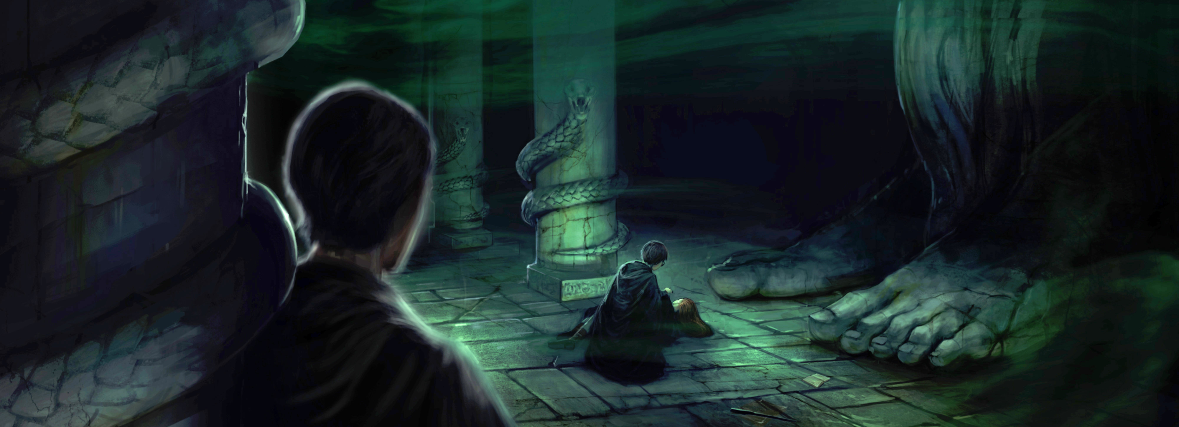Harry crouches over Ginny in the Chamber of Secrets while Tom Riddle watches.