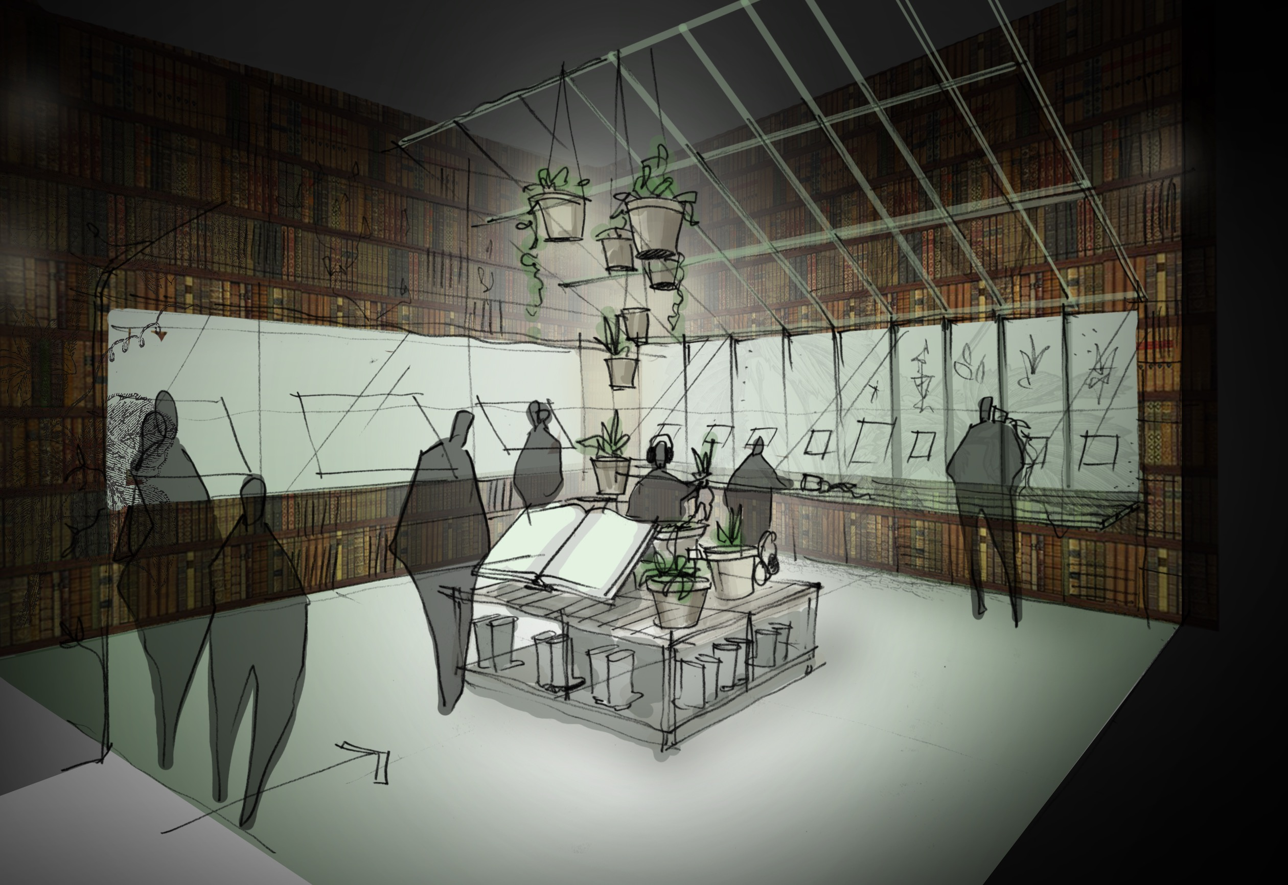 Concept Sketch Of The Herbology Room From British Library Exhibition History Magic