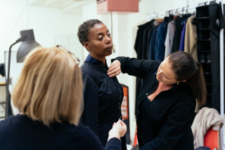 Cursed Child actress Noma Dumezweni being fitted for her Broadway outfit. Photo by Manuel Harlan.