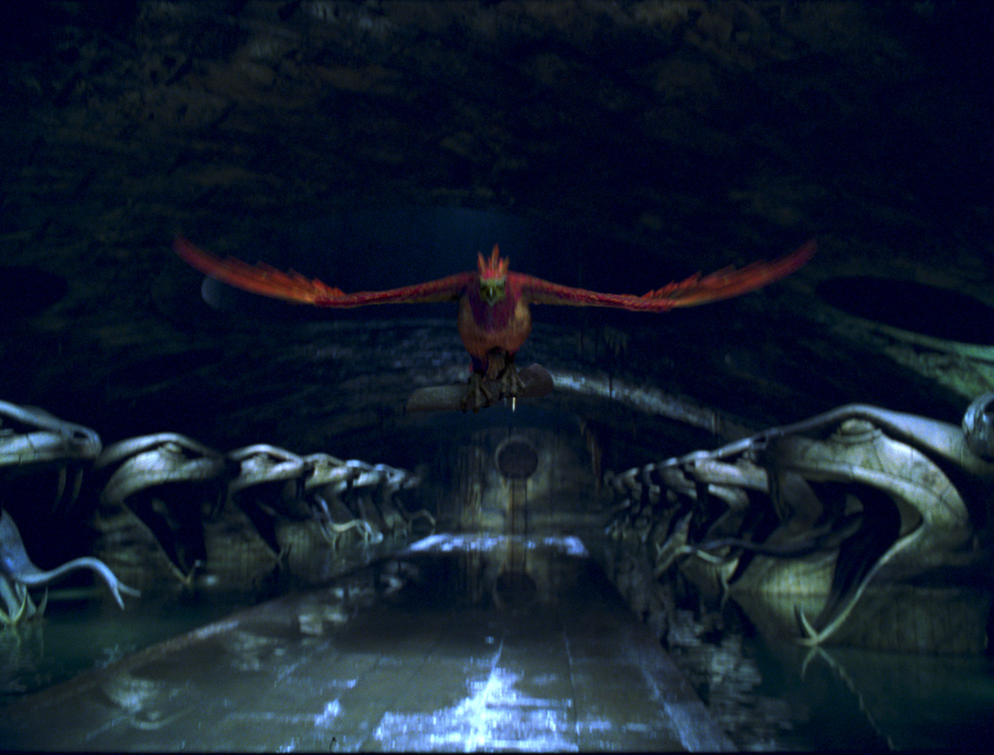 Fawkes flying though the Chamber of Secrets