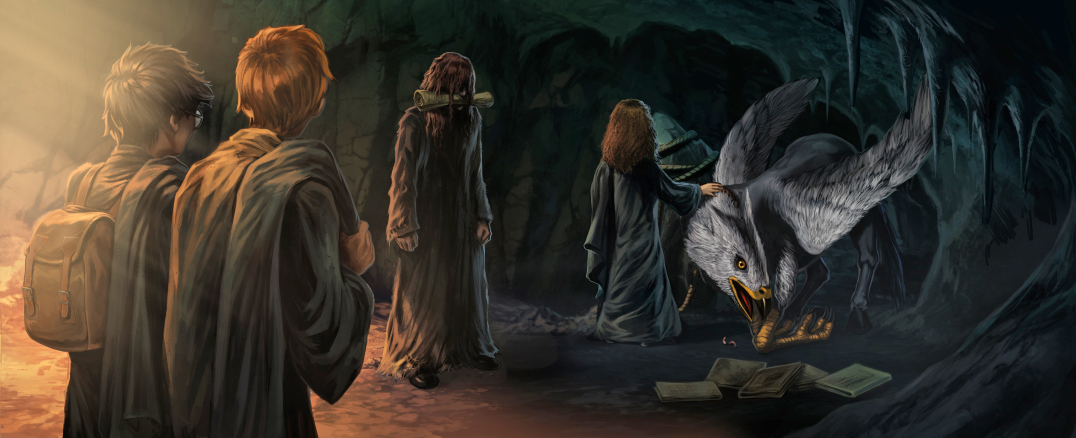 Sirius with Buckbeak Harry Ron and Hermione in the cave