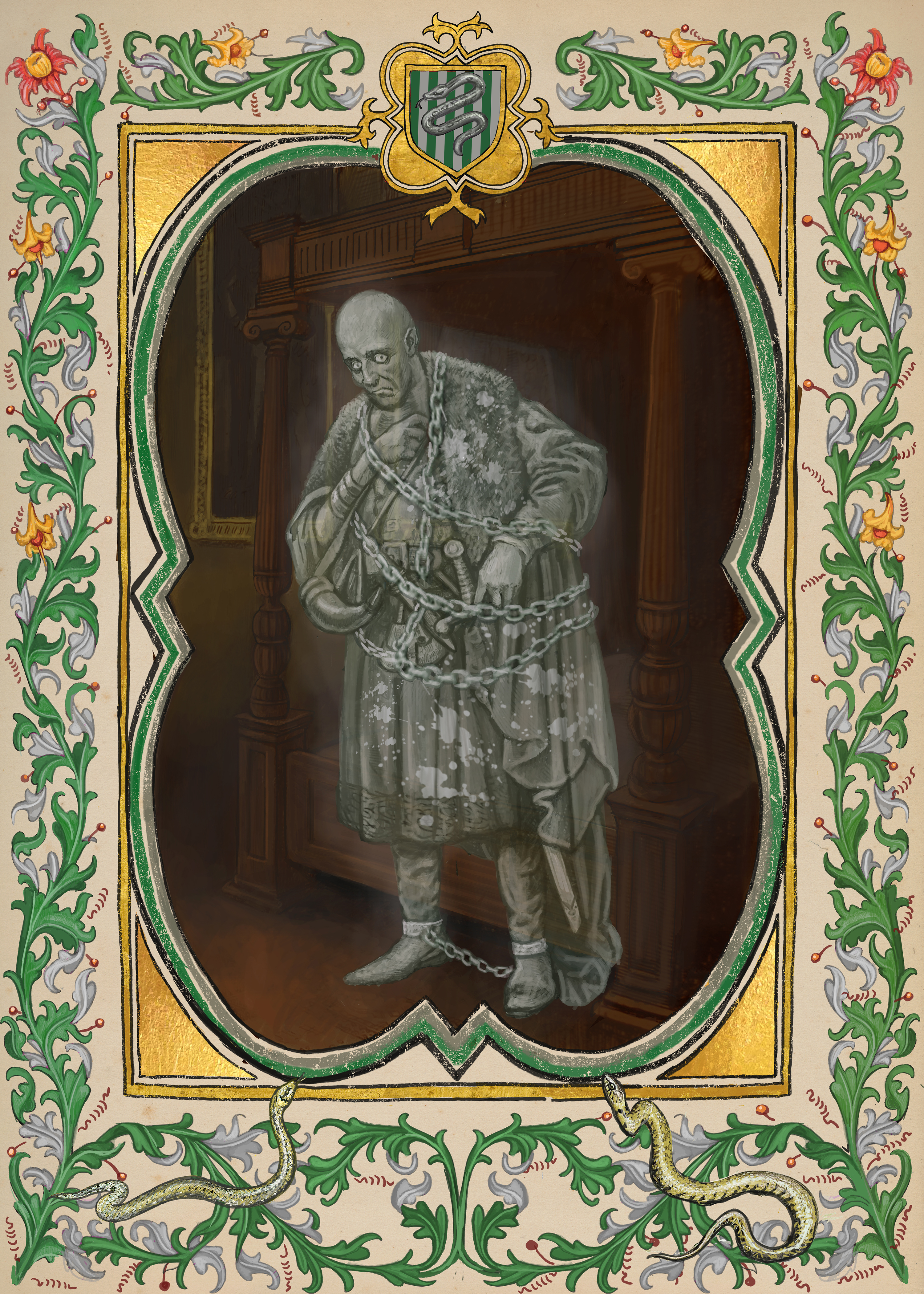 Still image of the Bloody Baron from the Hogwarts Ghosts portraits