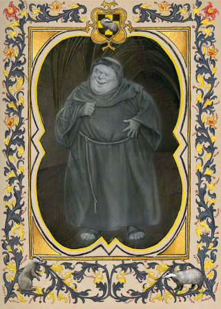 Still image of the Fat Friar from the Hogwarts Ghosts portraits