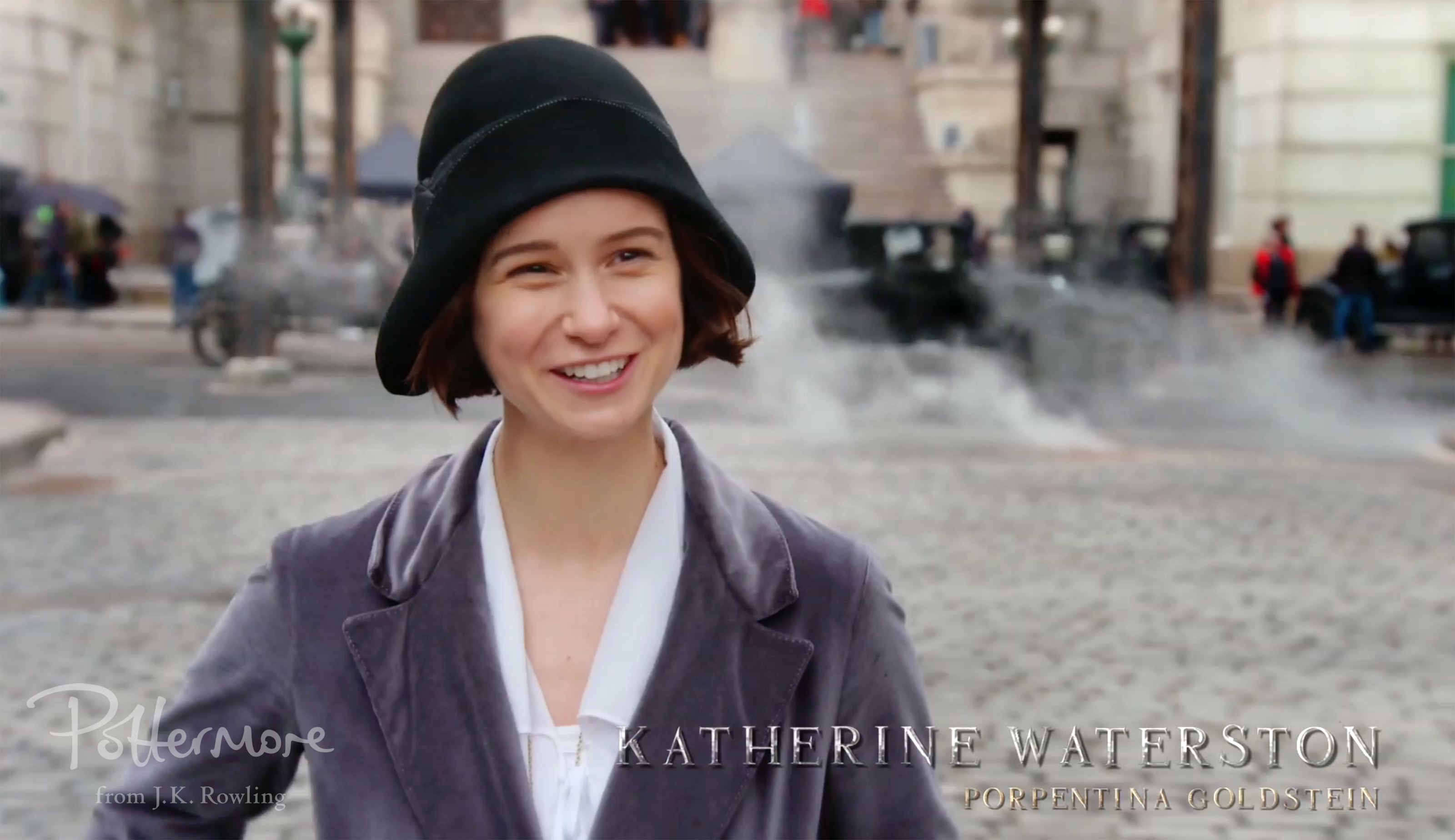Katherine Waterston between takes, Celebration video shot